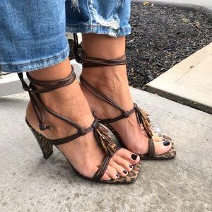 Donald J Pliner strappy lace up square toe sandals